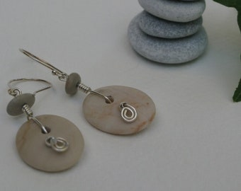 Button pebble earrings with sterling silver finishes