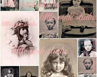 Vintage Children 01,  Printable Collage Sheet (digital download, printable)