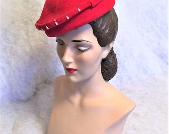 40s 50s Vintage Red Felt Hat with Faux Pearls and Rhinestones