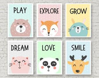 Sechs Poster Kinderzimmer, Bild, Plakat, Kunstdruck, Tiere, Kunst, Satz,  Set, Druck