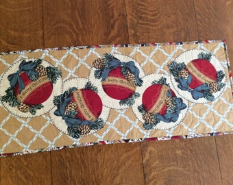 """33"""" x 13 1/2"""" Christmas table topper with ornaments"""