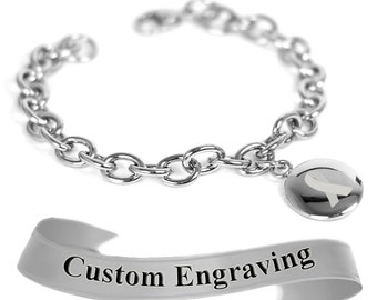 Gray Ribbon Awareness Bracelet, Engraved, Stainless Steel O-Links - R1GY-BS2