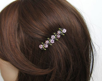 Crystal Small Flowers Hair Accessory Jewelry Comb Clip Antique Silver Tone Wedding Bridal Bridemaid Olive Green Lavender Purple AB
