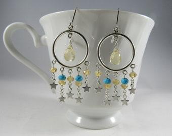 Star Hoop Earrings- Turquoise, Citrine, Silver