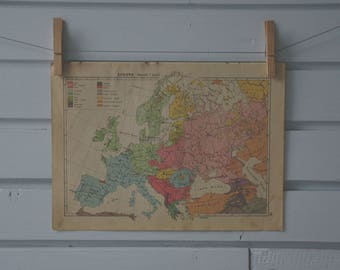 1939 Vintage Ethnic Map of Europe