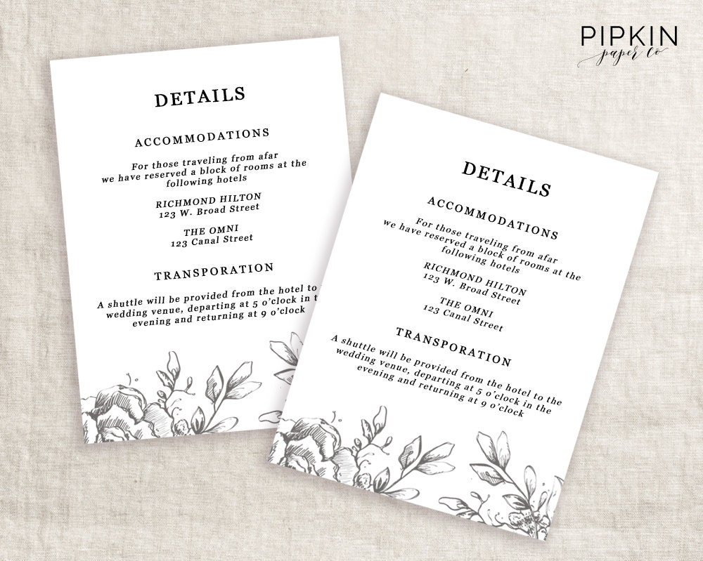 wedding info card template