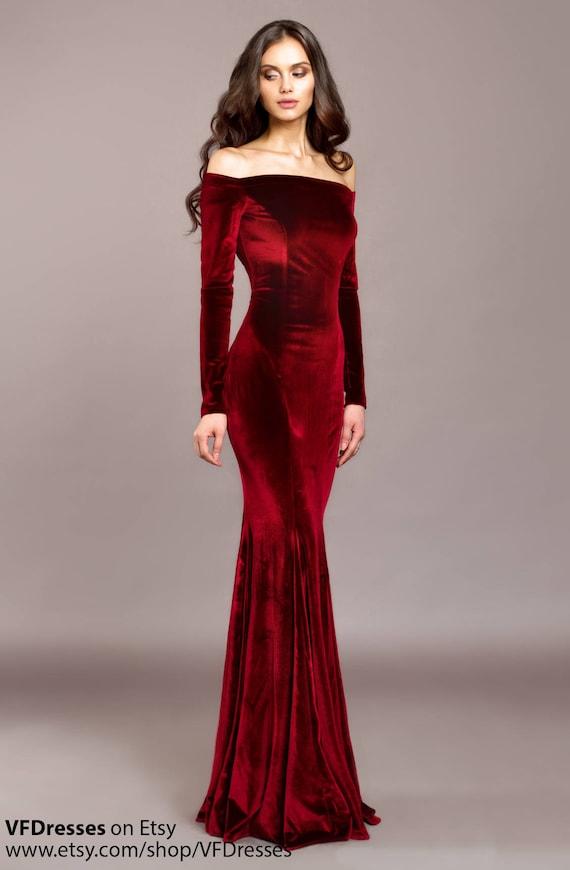 Burgundy Velvet Dress Burgundy Dress Special Occasion Dress
