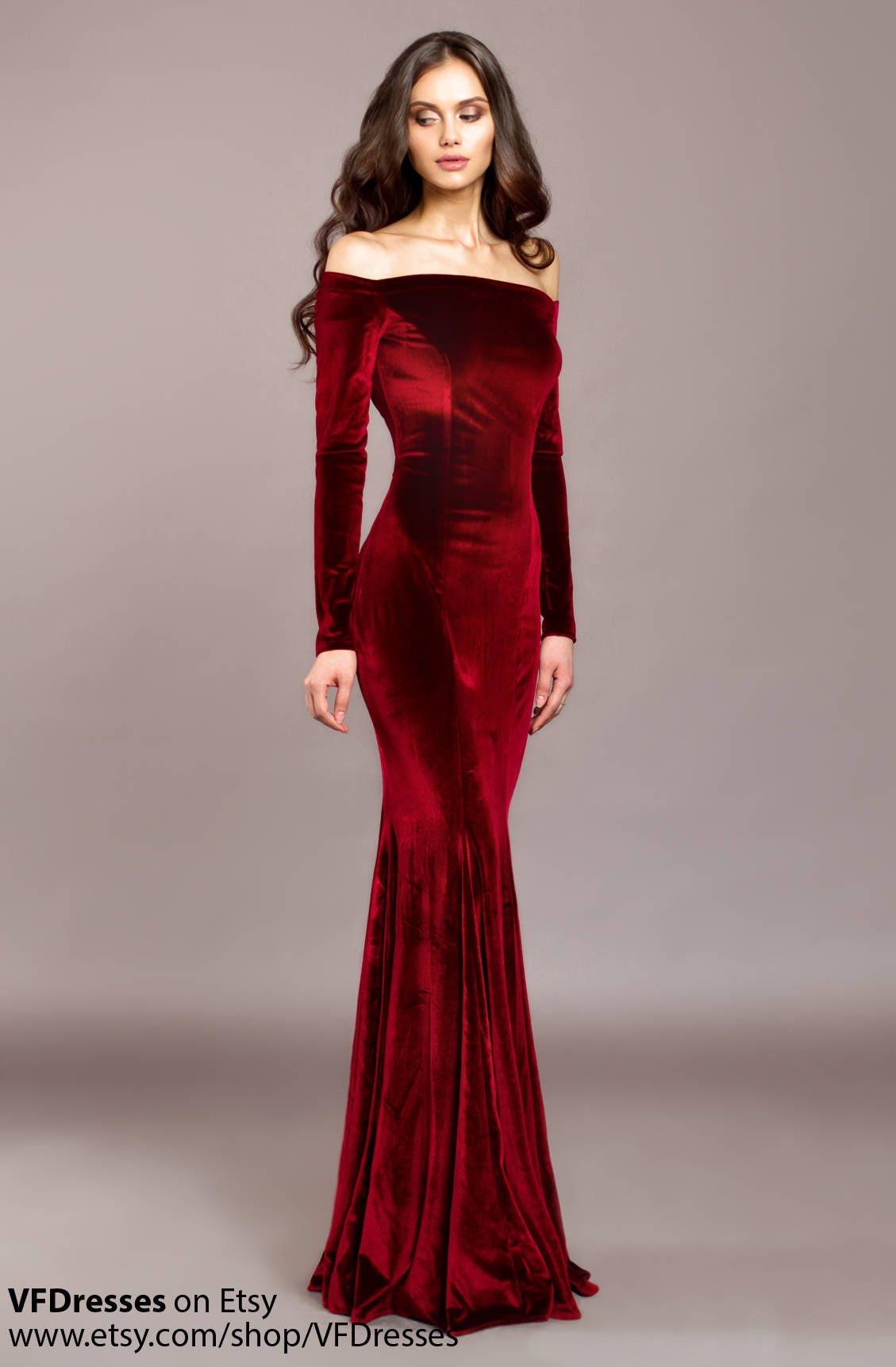 Burgunder samt Burgund Kleid besonderen Anlass Kleid Sexy