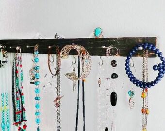 "18"" Necklace Hanger / Jewelry Organizer / Dorm Organizer..Choose Your Color & Finish..Closet, Bath, Kitchen Storage. Great Gift Idea!"