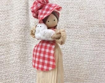 Corn Husk Vintage Folk Art Doll