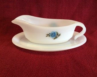 Phoenix Opalware Blue Rose Gravy Boat and Saucer