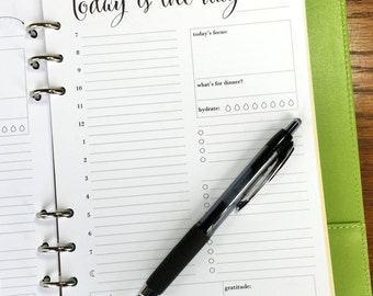 On Top of It Printed A5 Day On One Page Daily Planner Inserts, 90 Daily Schedule Planner Pages, Daily Agenda Inserts, Hourly Planner Pages