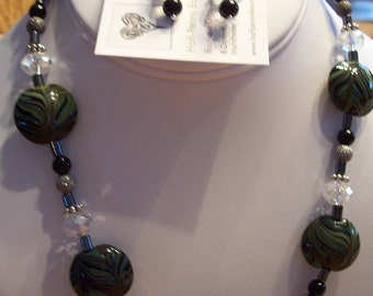 BLACK ONYX and Green Swirl Lentil Lampwork 18 In Necklace