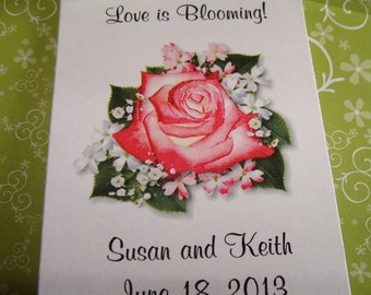 Pretty in Pink Coral Rose Design w/ Wildflower Seeds Packets for Bridal Shower Wedding Flower Seeds Party Favors SALE