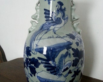 Porcelain vase with celadon blue China Phoenix and Peony Canton early 20th century Decor