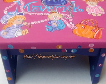 A personalized,customized step stool,hot pink, purple,turquoise,orange,baby dolls and purses,girl's step stool, kid's, baby,children's bench