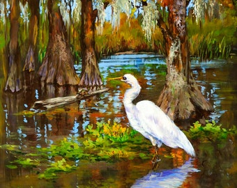 Louisiana Swamp, Heron, Egret, Cypress Trees, Louisiana Bayou Swamp Art, Wildlife Art, Louisiana Swamp, Wildlife Print - 'Louisiana Heron'