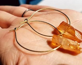 Crystal Shard Hoop Earrings