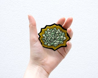 Plant, succulent hand embroidery