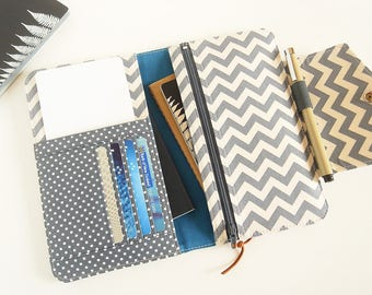 Passport Wallet, Travel Wallet, Family Passport Holder in Gray Chevron, Passport Organizer To Fit Up to Four Passports - Made To Order