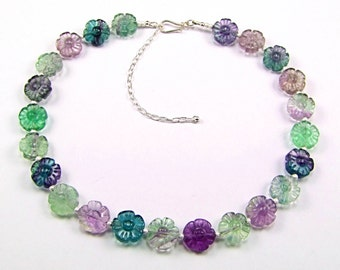Fluorite Carved Flower Sterling Silver Necklace - N685