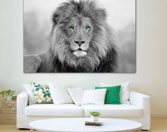 Elegant African Lion, Black And White Lion Print, Canvas Print. Lion Wall Art,