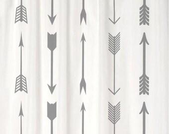 Shower Curtain Tribal Arrows CHOOSE COLOR 70, 74, 78, 84, or 96 inch Extra Long Boho Style Custom for Your Bathroom
