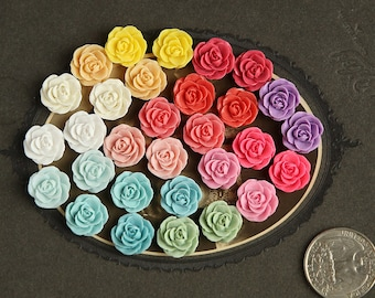 30pc 13mm Assorted Dainty Resin Rose Cabochons Sampler 13mm White Ivory Yellow Pale Pink Coral Fuchsia Turquoise Aqua Blue Teal Purple Green