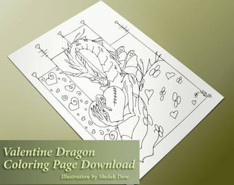 Valentine's Dragon Adult Coloring Page - Digital Download Coloring for Grown-Ups