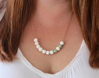 Coral Necklace, Carved White Coral Necklace, Mint Necklace, Handmade Necklace, Adjustable Necklace, Glass Leather Necklace, Bead Necklace