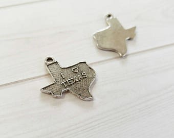 Texas Charms Texas Pendants State of Texas Antiqued Silver Highly Detailed TX 4 pieces Word Charms I Love Texas Charms