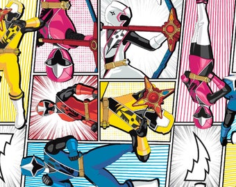 1/2 Yard Power Rangers Fabric /  Fabric By The Yard