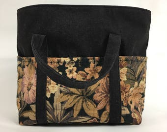 Black denim tote bag with 6 pockets and zipper/ yellow beige flower print/ diaper bag/ purse/ work bag