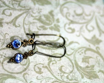 Choice Jet, Silk, Montana Blue, Lite Sapphire, Copper  Petite Drops of Color Antique Brass Swarovski Rivoli Crystals