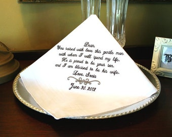 Father of the Groom Handkerchief - Hanky - Hankie  -  Raise with love this GENTLE MAN - Proud to be his WIFE - MisterandMrs
