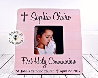 ON SALE First Holy Communion Picture Frame, Gift for First Communion, Communion Gift for Girl, Child's First Communion, Communion Present