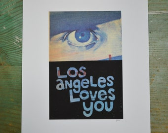 Los Angeles Loves You - Eye - Linocut - Book Page Art - Hand-pulled - Reclaimed - Repurposed