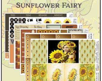 Sonnenblume elementaren wöchentliche Kit für Erin Condren, glücklich Planner und großen HP
