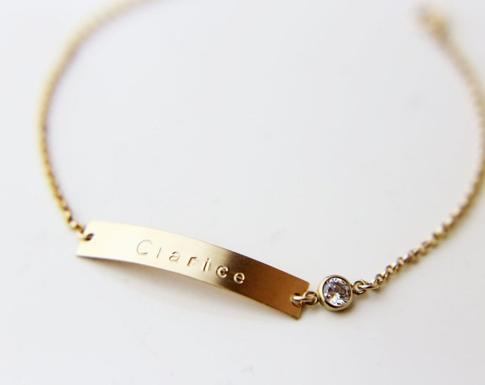 Nameplate Bracelet with CZ charm / Name bar Bracelet with Cubic Zirconia / Perfect Personalized gift for her EB038