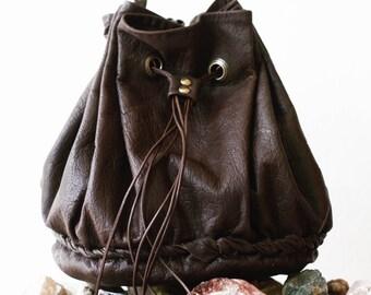 Leather Bucket Bag, Brown Leather Bag, Leather sack bag, Leather Drawstring Bag, Gift for her, All Day Bag, Boho Bag, Leather Sack,