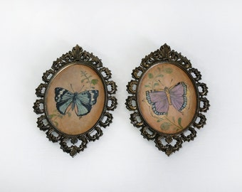 "Original Art, Victorian Butterfly Painting Series ""Blue & Purple"" Framed in Vintage Metal Filagree by Carrie Jackson"