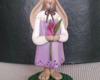 "hand sculpted polymer clay ""Iris"" girl bunny figurine"