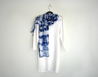Silk Scarf Hand-Dyed, Navy Blue and White, Shibori, Long 72 Inches