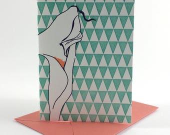 Lily   Letterpress Card   single blank greeting card with envelope   floral letterpress greeting card
