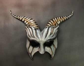 Spooky Goat Leather Mask entirely handcrafted lightweight One Of A Kind Gothic dark carnival Halloween