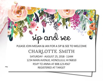 Sip and See Invitation Girl, Meet and Greet Baby Invitations, Spring Floral Baby Shower Invitation, Hello Baby Invitation, Welcome Baby, C17