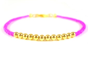 Simple Friendship Bracelet with Pink Seed Beads & Gold Plated - Beaded Bracelet Layering