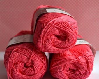 Catania yarn - Schachenmayr / 256 Himbeer / 100% Cotton/ Worldwide Shipping / Crochet and Knitting Yarn / 1 ball/50g