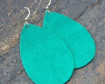 Green Suede Earrings, Emerald Green, Suede Earrings, Green Suede, Green Leather, Leather Earrings, Boho Earrings, Teardrop Earrings