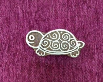 Turtle hand carved wood printing stamp Textile Stamp, Pottery stamp hand carved wood printing block